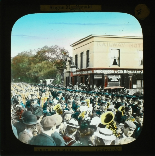 Slide showing military band parade