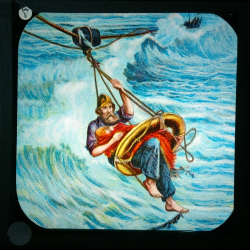 Slide showing rescue by lifeboatman